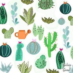 My new pattern is available at @patternbank #surfacedesigner #surfacepattern #newonpatternbank #patternbank #fabric #fashion #textileart #textileprint #cactus #succulent #illustration #floral #summerfashion IG: @gulsengunel.illustration