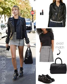 Hailey Baldwin's leather jacket, mini skirt and buckled brogue ankle boots look for less