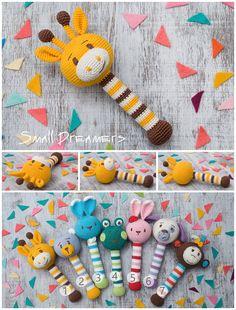 Giraffe rattle Crochet rattle Baby rattle toy Cotton crochet