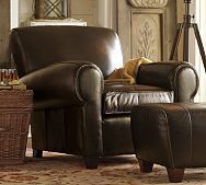 Manhattan Leather Club Chair (Pottery Barn, $1,499.00) - my dad would LOVE this chair.