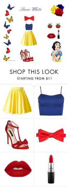"""""""Snow White"""" by disneyboundz ❤ liked on Polyvore featuring Philipp Plein, WearAll, INC International Concepts, Saddlebred, Lime Crime, MAC Cosmetics, disney, snowwhite, disneybound and snowwhitedisneybound"""