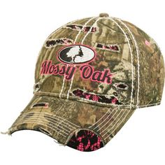 Mossy Oak Women's Camouflage and Pink Logo Hat, BUI/Pink