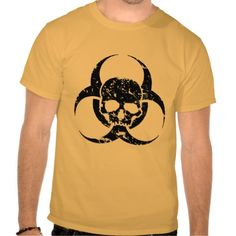 Grunge and Distressed Biohazard Symbol and a skull Tshirt