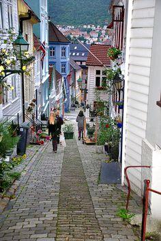 The narrow streets of Bergen Norway. Taken from my window.