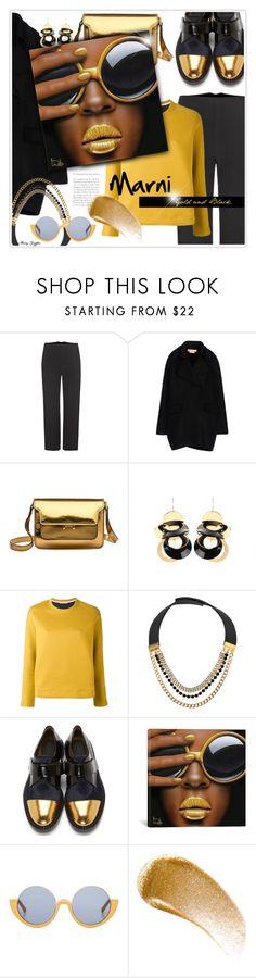 """Marni Gold & Black"" by mcheffer ❤ liked on Polyvore featuring Marni, Marni Edition, iCanvas, BBrowBar, sunglasses, sunnies, metallics, marni and blackgold"
