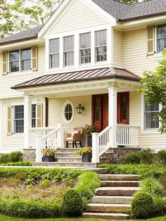 Boost your home's curb appeal with inspiration from these tips and tricks for creating perfect exterior color schemes. Learn how to figure out what exterior colors go together and how to pick hues that work for your home's style and architecture. Yellow House Exterior, Exterior Paint Colors For House, Paint Colors For Home, Exterior Colors, Exterior Design, Paint Colours, Exterior Siding, Exterior Remodel, Wall Exterior