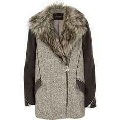 River Island Grey faux fur woolen biker coat ($73) ❤ liked on Polyvore featuring outerwear, coats, jackets, sale, woolen coat, grey coat, grey faux fur coat, gray coat and faux fur collar wool coat