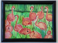 Watercolor painting - Field of Flamingos - www.harrisartstudio.com