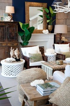 What the Pros Are Saying About Coastal Living Room Decor and How It Affects You - homeexalt Interior Tropical, Sala Tropical, Estilo Tropical, Tropical Home Decor, Tropical Houses, Tropical Furniture, Hawaiian Home Decor, Beach Living Room, Coastal Living Rooms