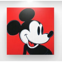 "Andy Warhol ""Mickey Mouse"" Pop Art Canvas Print (Black/Red)"