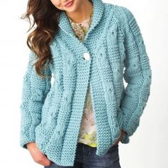 épinglé par ❃❀CM❁✿⊱Free Knitting Pattern for Quick Textured Checks Cardigan - This long-sleeved sweater features an over sized check pattern and a shawl collar. It's a quick knit in super bulky yarn. Designed by Bernat Design Studio. Sizes XS/S, M, L, XL, Sweater Knitting Patterns, Knit Patterns, Free Knitting, Knit Cardigan Pattern, Quick Knits, Knit Or Crochet, Pulls, Blouse, Sweaters