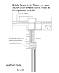 (DWG) Cerramiento 2 hojas con cajón de persiana y dintel de acero. Visera de hormigón con aplacado
