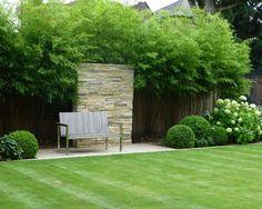 jardin avec fontaine, gazon et brise-vue en bambou