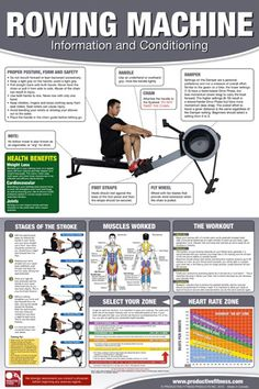 ROWING MACHINE WORKOUT Professional Fitness Gym Wall Chart Poster -Available at www.sportsposterwarehouse.com