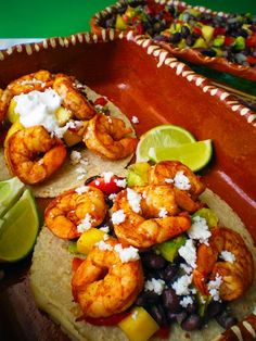 Chipotle Chile Lime Shrimp Tacos with Strawberry, Avocado and Mango Salsa~T~ These are fun to make for a summer party. We set up a taco bar with different fillings and all the toppings. People love it and you can make up most things ahead of time, so you can visit.