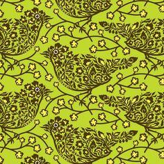 Tula Pink Nest Perched Green Bird Fabric 1 fat by MakingStuffUP, $4.25