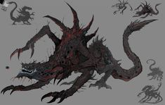 Monster Concept Art, Alien Concept Art, Creature Concept Art, Fantasy Monster, Monster Art, Creature Design, Dark Creatures, Mythical Creatures Art, Fantasy Creatures