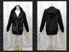 V series Gothic punk unisex riders Hoodie zip decor black