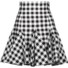 Dolce & Gabbana - Ruffled Gingham Cotton Mini Skirt (£545) ❤ liked on Polyvore featuring skirts, mini skirts, gingham, saias, black, patterned skirts, mini skirt, short mini skirts, cotton skirts and flounce skirt