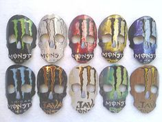Monster Energy Drink Skull Masks Rear View Mirror Ornament. Check me out on eBay! Most starting @ $11.99