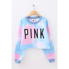 To find out about the Blue Long Sleeve PINK Print Crop Sweatshirt at SHEIN, part of our latest Sweatshirts ready to shop online today! Ombre Sweater, Pink Sweater, Sweater Shirt, Zip Up Hoodies, Sweatshirts Online, Warm Outfits, Harajuku Fashion, Girls Image, Sweaters For Women