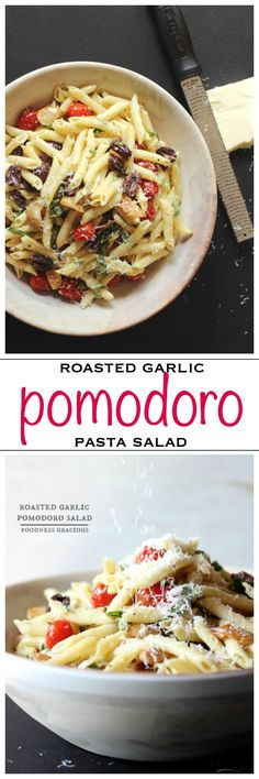 Creamy roasted garlic dressing with cherry tomatoes and penne pasta | Foodness Gracious