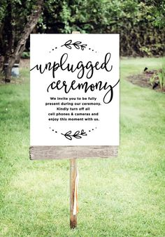 "cool Unplugged Wedding Sign | Printable Unplugged Ceremony Sign| Wedding Signs| Wedding Day Signs | Poster Size 24""x30"" 