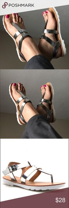 ☀️NEW☀️ Silver Sandals Silver straps. White traction outsole. ⚠️FIT RUNS A HALF TO A WHOLE SIZE SMALL⚠️ Man made materials. As with all merchandise, seller not responsible for fit nor comfort. Brand new boutique retail w/o tag. No trades, no off App transactions.  ❗️PRICE IS FIRM UNLESS BUNDLED❗️ Leoninus Shoes Sandals