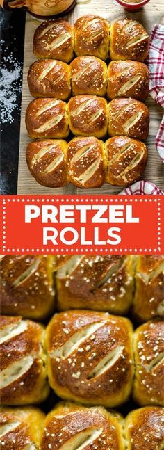Homemade Pretzel Rolls: soft on the inside, salty and chewy on the outside, and now better than ever! Fill them with ham and cheese, bratwurst, or burgers. Pretzel Rolls, Pretzel Bun, Pretzel Roll Recipe, Pretzel Recipes, Mini Burgers, Veggie Burgers, Burger Buns, Turkey Burgers, Homemade Pretzels