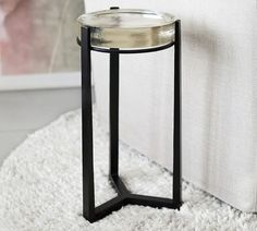 Cori Glass Accent Side Table | Pottery Barn Metal Accent Table, Round Accent Table, Metal Side Table, Round Side Table, Accent Tables, Side Tables, Cube Table, Glass End Tables, Furniture For Small Spaces