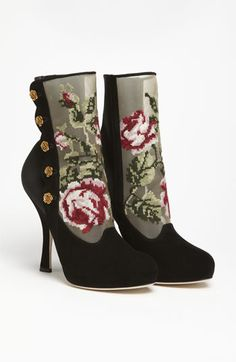 Decadent vintage-inspired Dolce // Dolce Tapestry Suede Bootie // at #Nordstrom // #Dolce #Gabbana #victorian #charming #tapestry #crossstitch #roses #black #suede #booties #boot #heel #shoes #winter