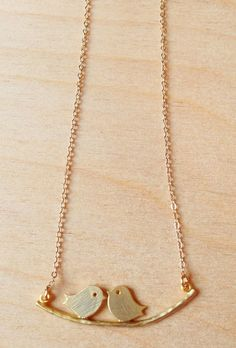 Gold necklace with bird pendant by FredericaDixon on Etsy, £13.99