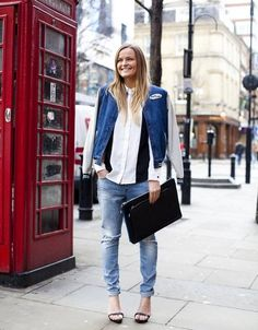 topshop: Two trend are meeting for denim perfection. A jean varsity jacket a cool pair of ripped jeans. What a dream team! London Fashion, New Fashion, French Fashion, Street Fashion, Womens Fashion, Denim Tees, London Look, London Style, Estilo Denim