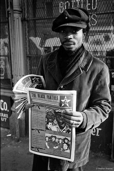 The Black Panther Party newspaper was founded by Huey Newton and Bobby Seale in It became the No. 1 Black weekly newspaper in the country from selling over copies each week. Every Panther had to read and study the newspaper before selling it. Henri Cartier Bresson, Stephen James, Magnum Photos, Black Panther Party Members, Rue Des Archives, Black Panthers Movement, Black Leaders, By Any Means Necessary, Photo Portrait