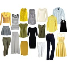 """""""Capsule Wardrobe""""  Grey, olive, and white neutrals with mustard yellow accents, plus black and chambray! 18 pieces - 60+ looks!"""