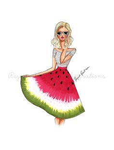 He encontrado este interesante anuncio de Etsy en https://www.etsy.com/es/listing/274720948/fashion-illustration-watermelon-skirt