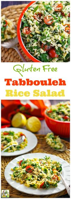 Love tabbouleh but can't eat couscous? You have to try this Gluten Free Tabbouleh Recipe. Click to get this rice salad recipe. This easy-to-make side salad recipe is goes great with grilled food. Serve it at your next BBQ party or bring it to a potluck.