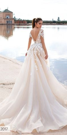 trendy stylish lace low back wedding dresses 5