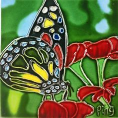 Continental Art Center SD-086 4 by 4-Inch Butterfly On Red Flower Ceramic Art Tile by Continental Art Center. $12.59. Exclusive designs from well known artists with signature of the artist on each tile. Pre-attached backings can be removed by soaking in water for installation as backsplash or a center piece both indoor and outdoor. 100-Percent hand made 3-D textures are created by hand pipping process; One of a kind Come with a recyclable gift box. Hand painted, glazed, and k...