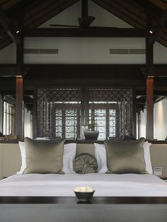 A bedroom at the Nam Hai luxury resort in Danang, Vietnam.