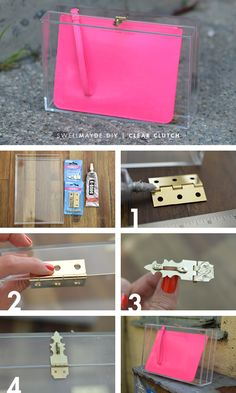 swellmayde: DIY | BOX CLEAR CLUTCH. How to make a clear case out of two lucite trays