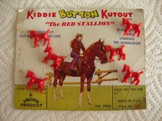 ButtonArtMuseum.com - 6 Vintage Realistic Novelty RED Stallion Horse Kiddie Buttons ON Card