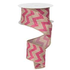 """Chevron Burlap Ribbon Size 2.5"""" in width; 10 yards in length Color: Natural, Fuchsia Material: Jute Wire Edge  #trendytree #burlap"""