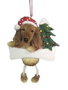 3 VINTAGE LOOK CHENILLE SANTA DOG MINI CHRISTMAS ORNAMENT  COCKER SPANIEL