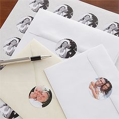 What a cool idea! These Photo Envelope Seals are such a great idea! You can upload your own photo - maybe from engagement photo shoot - and use the stickers to seal the Wedding invitations, Save-the-Dates or even the Thank you notes after the wedding! Save time and money, too because they're only $15.95 for 140 stickers! (You can buy fewer if you want, too)