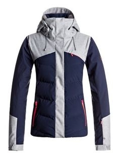 2018 Roxy Flicker Snow Jacket - Peacoat-The form-fitting and flattering slim cut Flicker Snow Jacket for women seamlessly blends style and high performance, crafted with Roxy DryFlight technology for serious waterproofing in serious conditions. Roxy, Wetter Im Winter, Coats For Women, Jackets For Women, Cute Coats, Fashion Forecasting, Outdoor Outfit, Nike Jacket, Casual