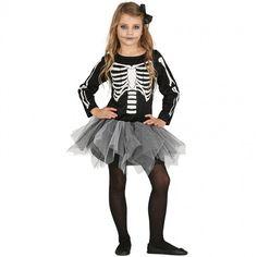 Disfraz de Esqueleto Tutú gris para niña #disfraces #carnaval #novedades2017