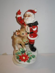 JOSEF Original Singing Santa with Rudolph the Red Nosed Reindeer Music Box Christmas Figurine Rare Vintage Porcelain Japan TREASURY ITEM
