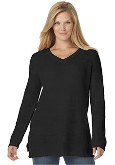 438522aad9c Womens Plus Size WaffleStitch VNeck Pullover Sweater Black3X     Learn more  by visiting the