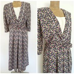 Vintage 80s Floral Dress Size XLarge Plus Belted Lace Trim Secretary Career Midi #Paquettetoo #Sheath #WeartoWork